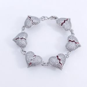 Jewelry - Icy Silver Finish Rolo Broken Heart Bracelet